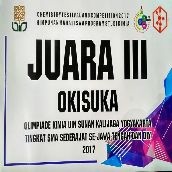 Juara 3 Olimpiade Kimia UIN Sunan Kalijaga Yogyakarta Tingkat SMA Sederajat Se Jawa Tengah dan DIY 2017